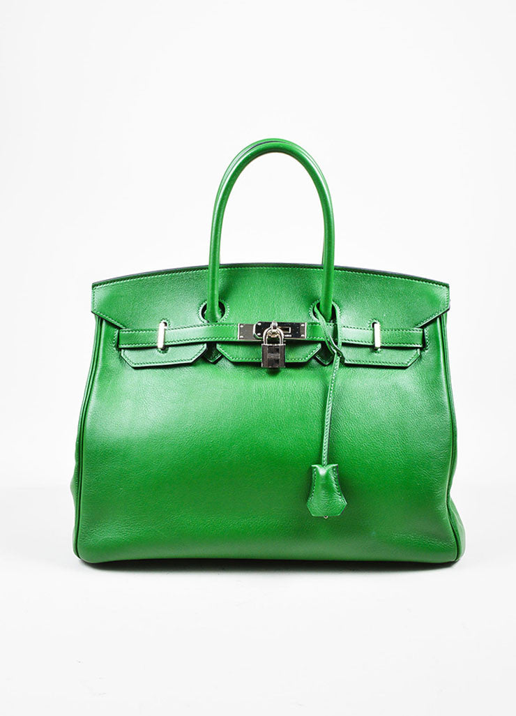 "Hermes Green SHW ""Vert Bengale"" Veau Swift Leather 35 cm ""Birkin"" Bag Frontview"