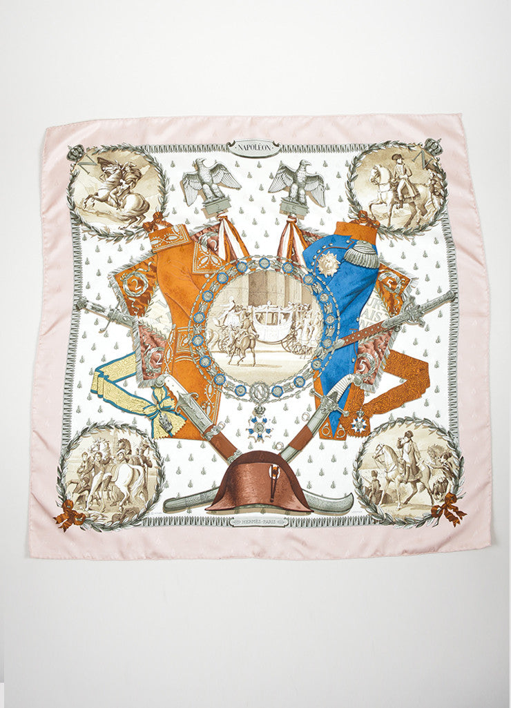 "Light Pink and Multicolor Hermes Silk Twill Printed ""Napoleon"" 90cm Scarf Frontview"