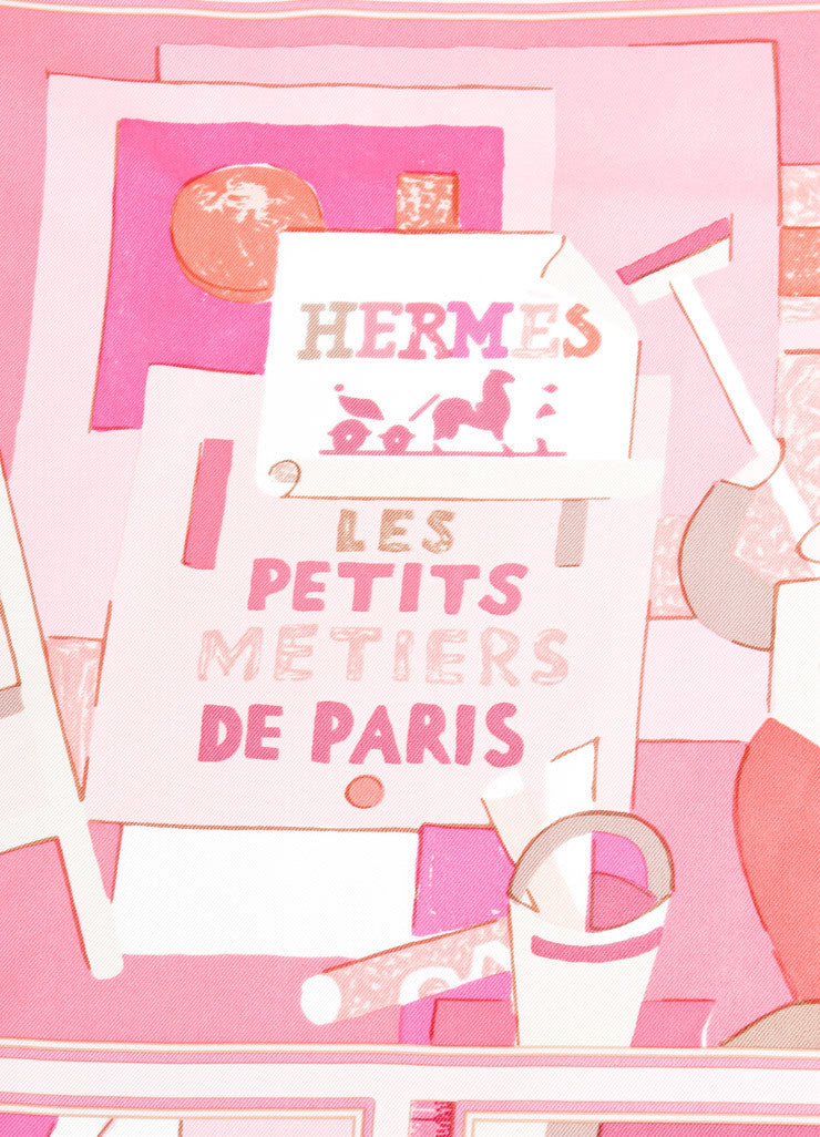 "Hermes Pink and Cream Silk ""Les Petits Metiers de Paris"" Scarf Brand"