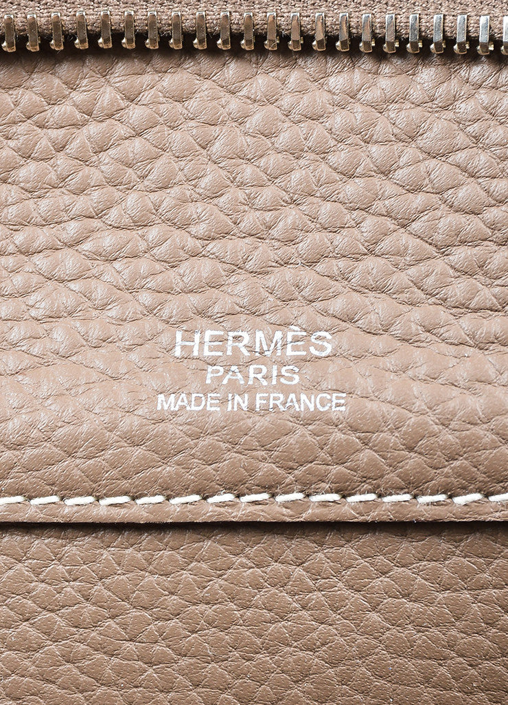 "Taupe Brown Grain Clemence Leather Top Handle Hermes ""Atlas 35"" Bag"