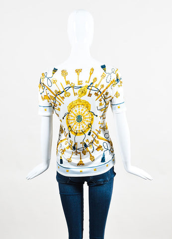 Hermes White, Gold, and Blue Silk Jersey Key Print U Neck T-Shirt Backview
