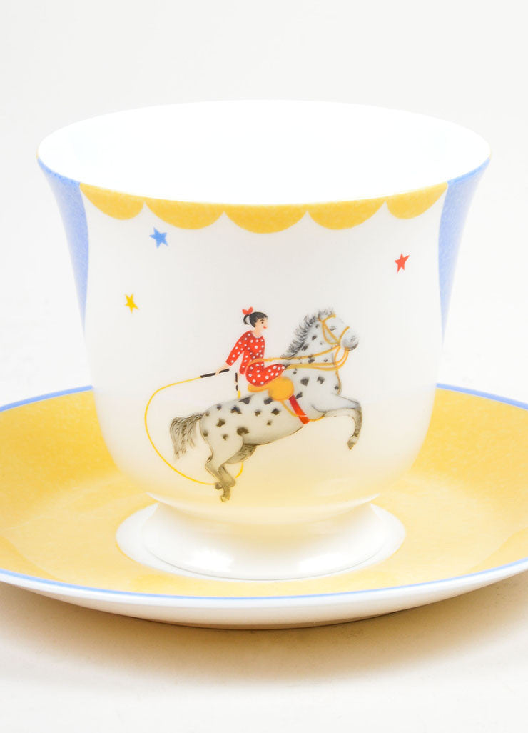 "White, Yellow and Blue Hermes Porcelain ""L' Ecuyere"" Circus Teacup & Saucer front 2"
