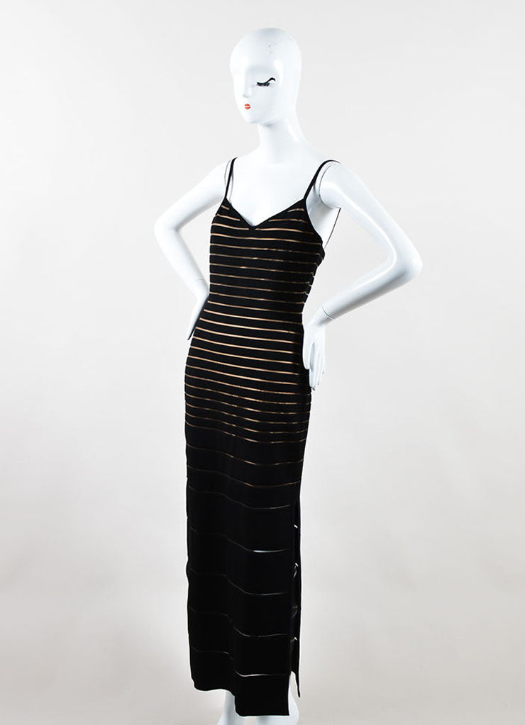Herve Leger Black Spandex Stretch Knit Sheer Bandage Dress Sideview