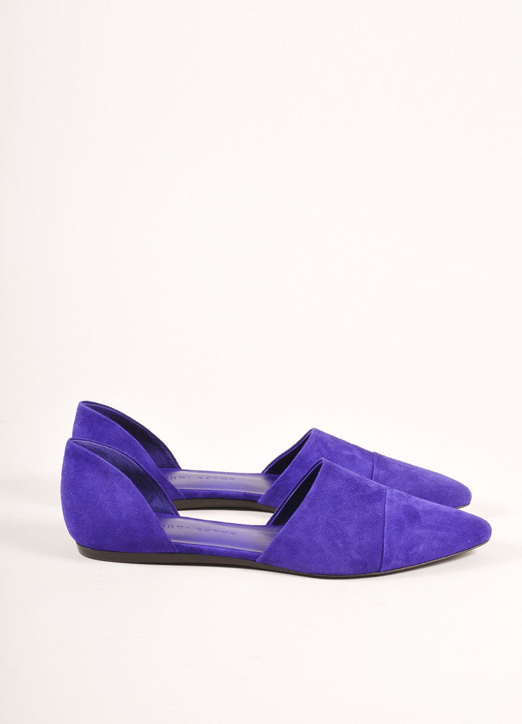 Jenni Kayne New Purple Suede D'Orsay Pointed Toe Flats Sideview