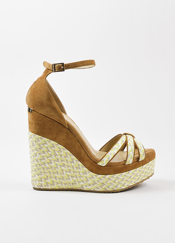"Jimmy Choo Brown Suede Yellow and Grey Platform ""Promise"" Espadrille Wedges Sideview"