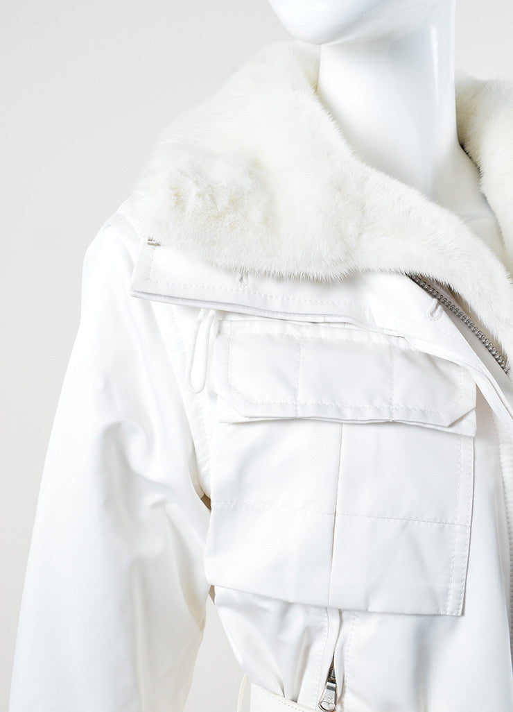 "Kaufmanfranco White Mink Collar Belted ""Tech Parka"" Coat Detail"