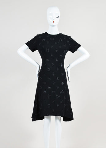 Black Kenzo Crepe Embroidered Symbols Short Sleeve Flounce Dress Frontview