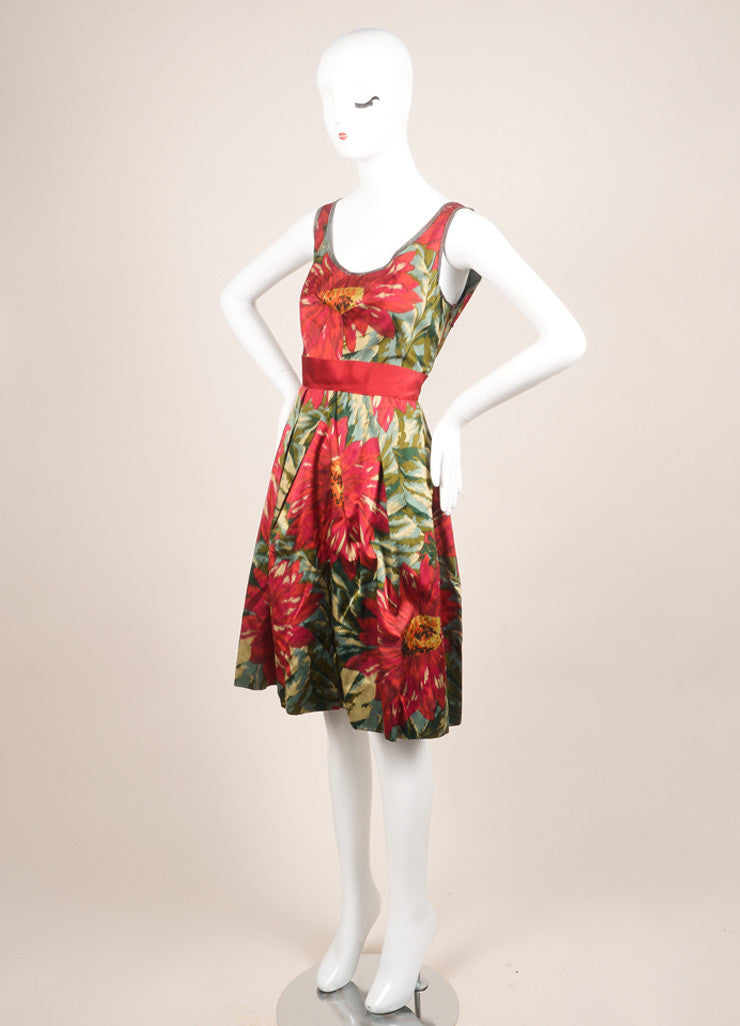 Lanvin Green, Pink, and Red Floral Print Sleeveless Pleated Dress Sideview