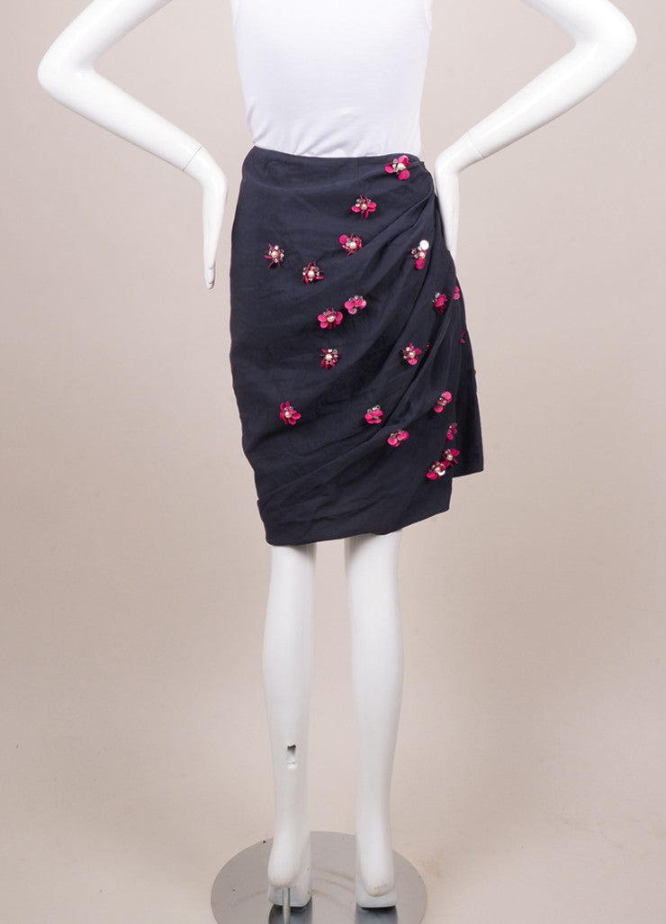 Lanvin Navy Cotton and Linen Embellished Flower Beaded Skirt Backview