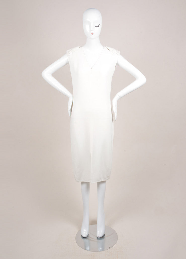 Lanvin White Sleeveless Padded Shoulder Slit Midi Column Dress Frontview
