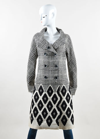 Lela Rose Black and Cream Houndstooth Diamond Double Breasted Coat Frontview