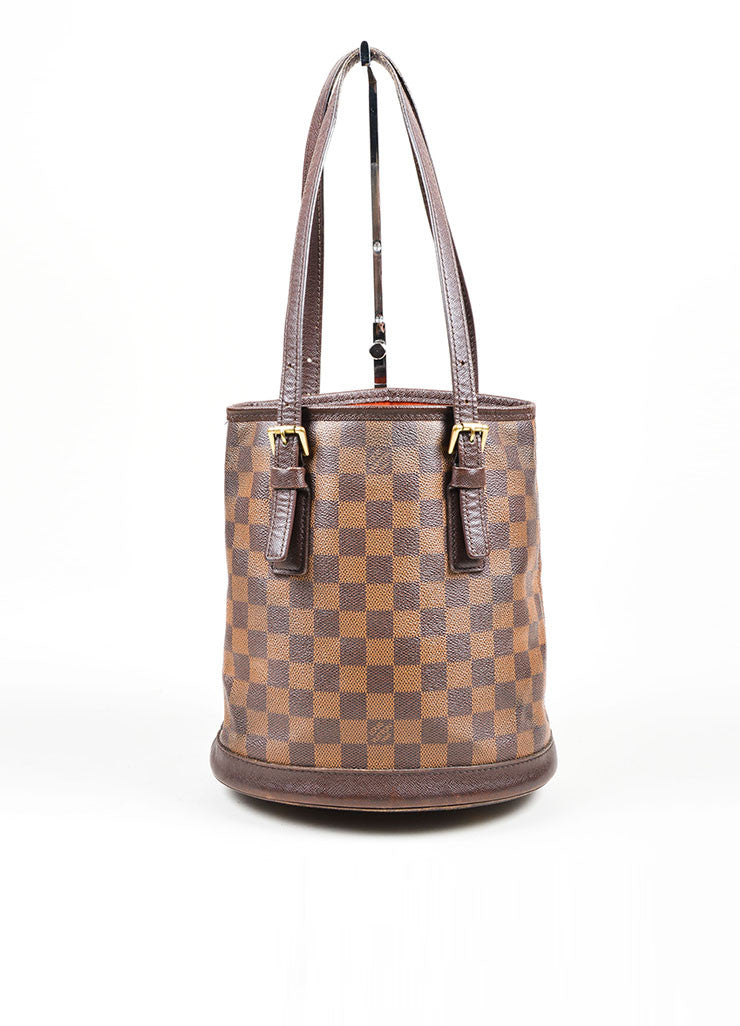 Louis Vuitton Brown Canvas Checkered Bucket Bag Front
