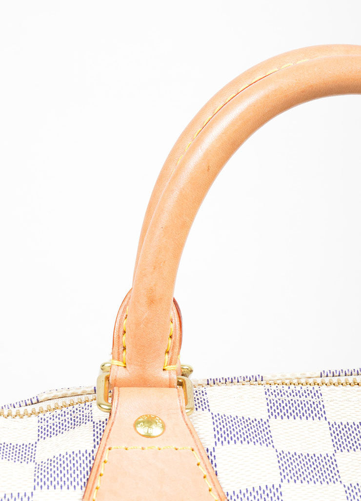 "Cream and Blue Coated Canvas and Leather ""Damier Azur Speedy 30"" Bag Detail 2"