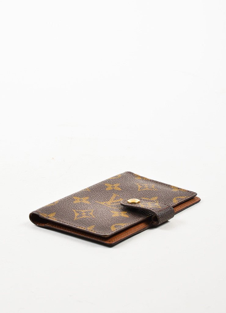 Louis Vuitton Brown and Tan Coated Canvas Monogram Bi Fold Wallet Sideview