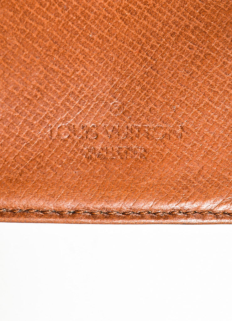 Louis Vuitton Brown and Tan Coated Canvas Monogram Snap Card Holder Wallet Brand