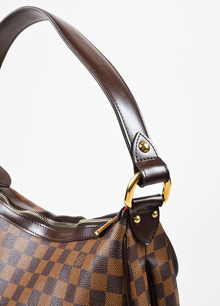 "Louis Vuitton Damier Ebene Canvas ""Highbury"" Shoulder Bag Detail 2"