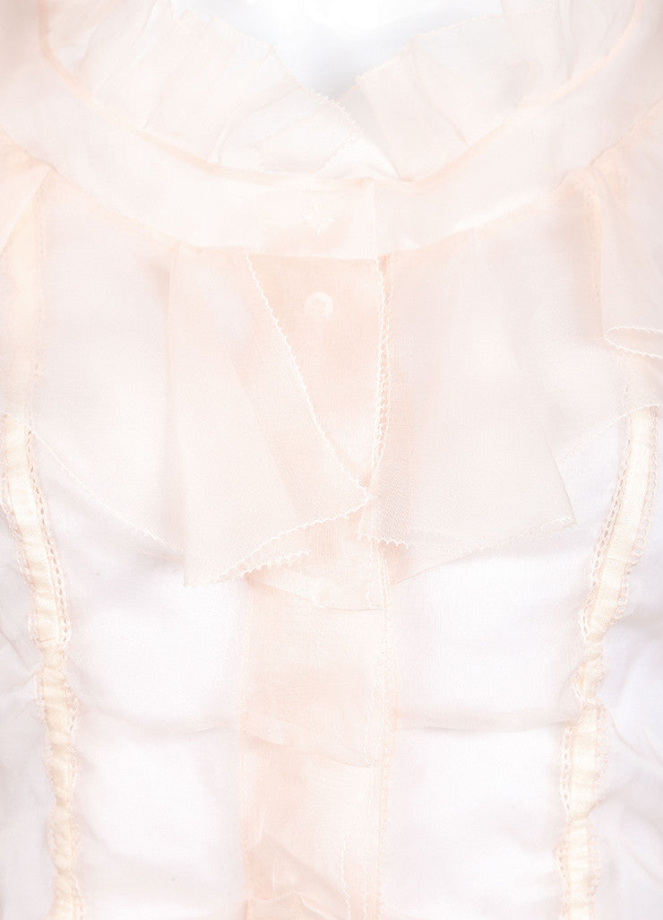 Louis Vuitton Light Pink Silk Ruffle Ribbon Trim Sheer Long Sleeve Blouse Detail