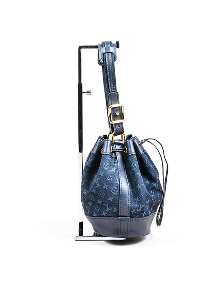 "Midnight Blue Louis Vuitton Monogram Canvas ""Mini Lin Mini Noe"" Bucket Bag Sideview"
