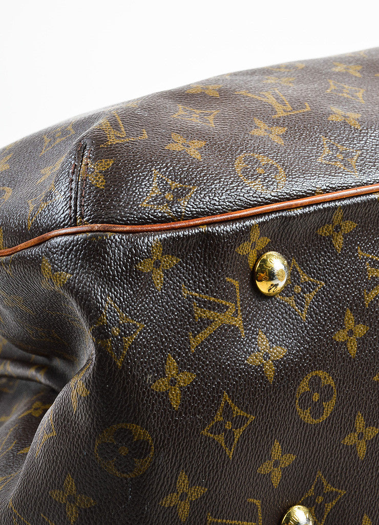"Louis Vuitton Brown and Tan Coated Canvas Monogrammed ""Griet"" Tote Handbag Detail"