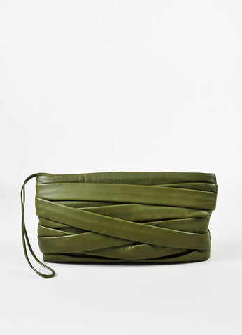 Maison Martin Margiela Green Leather Strappy Panel Oversized Wristlet Clutch Bag Frontview