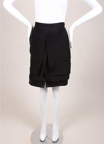Maiyet New With Tags Black Silk and Leather Layered Slit Mini Skirt Frontview