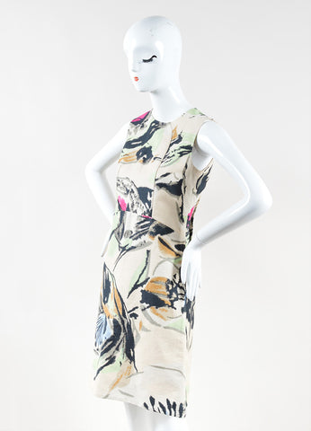 Marni Beige Multicolor Abstract Print Cotton Sleeveless A-Line Dress Front