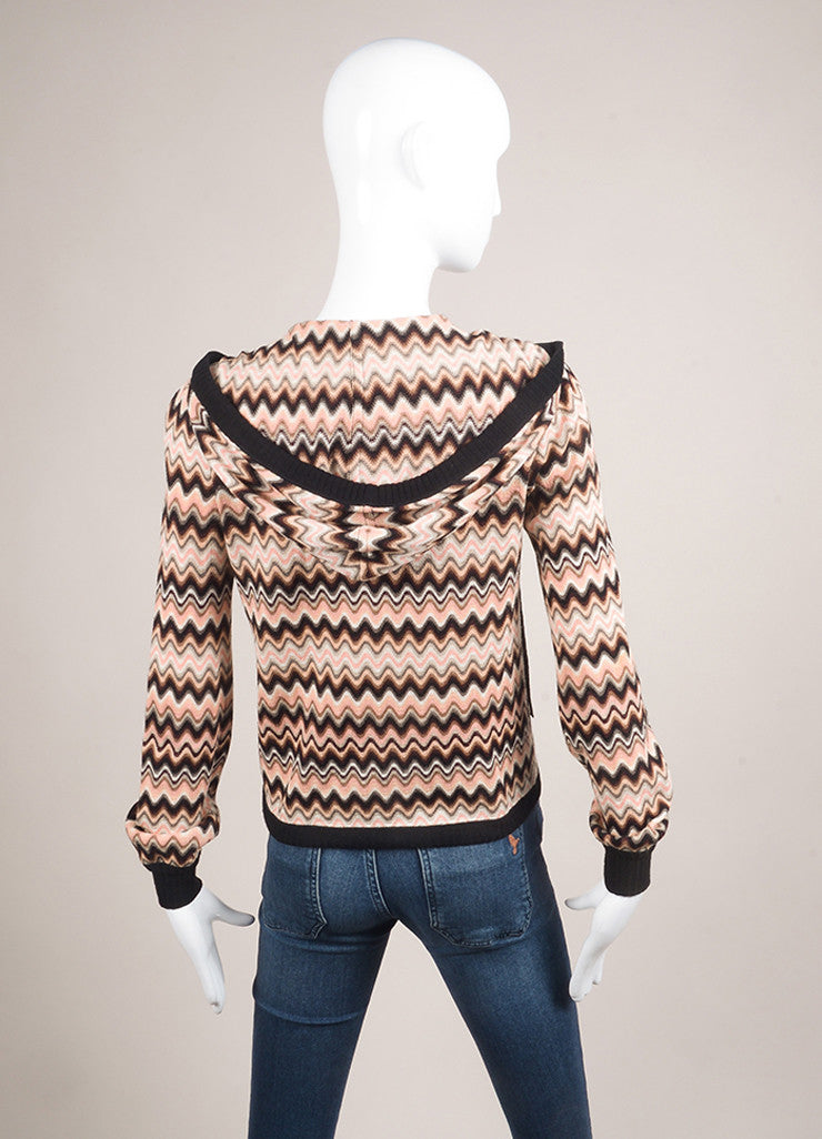 Missoni Multicolor Wave Print Hooded Wool Sweater Backview