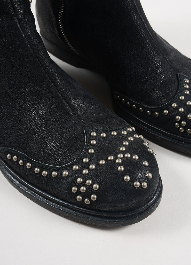 Miu Miu Black and Silver Toned Leather Studded Knee High Flat Boots Detail