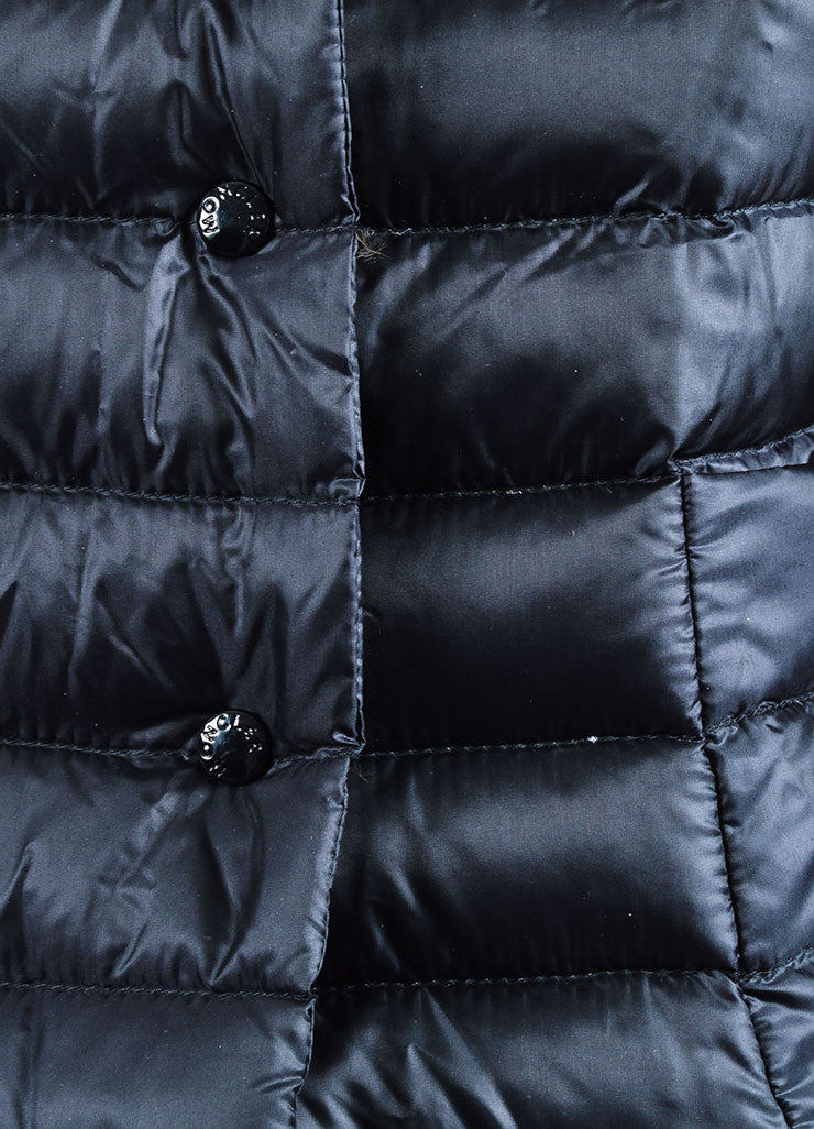 "Black Moncler Nylon Down Quilted ""Leyla"" Puffer Jacket Detail"