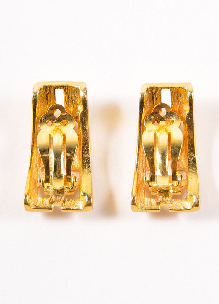 Pierre Cardin Gold Toned Curved Rectangular Cut Out Earrings Backview