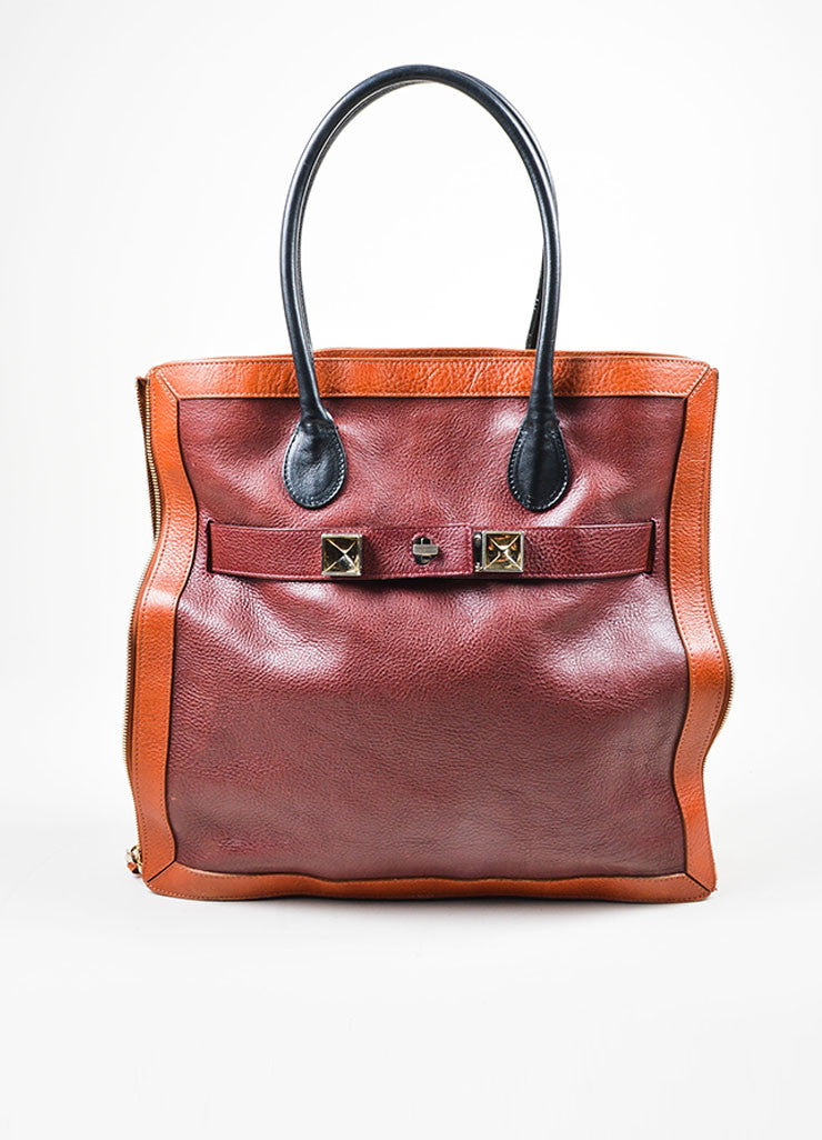"Maroon, Brown, and Black Proenza Schouler Pebbled Leather ""PS11"" Tote Bag Frontview"