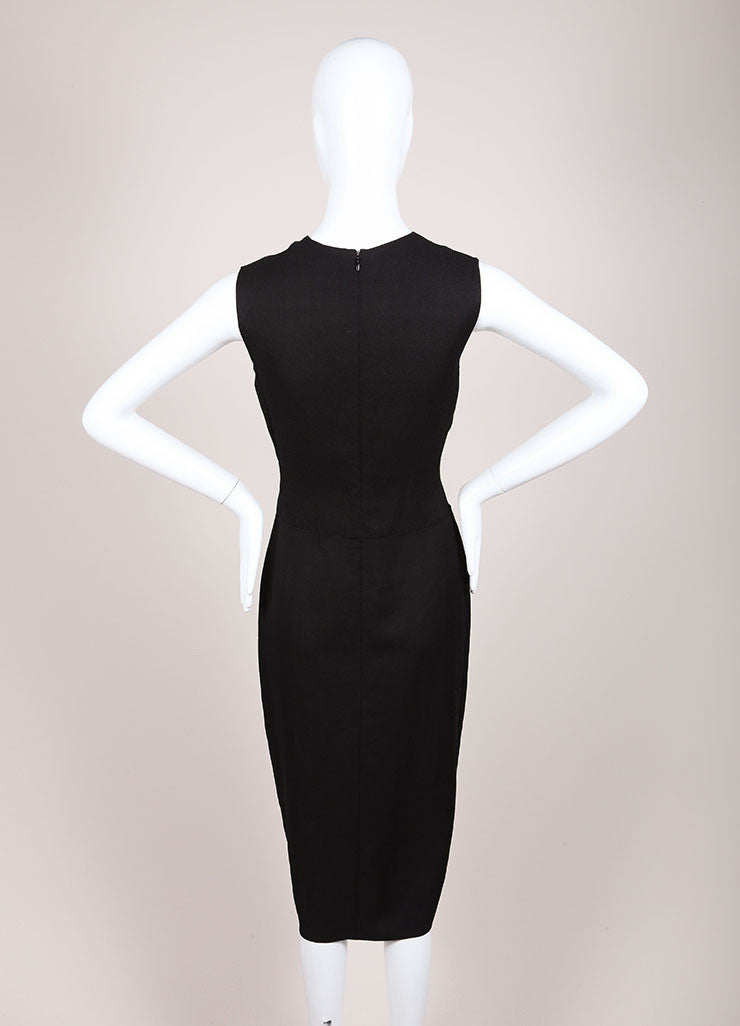 Reed Krakoff New With Tags Black Mesh Neck Sleeveless Sheath Dress Backview