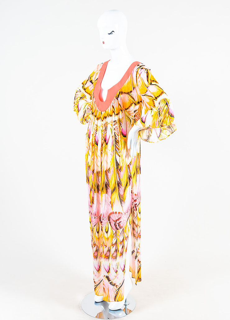 Roberto Cavalli Pink and Multicolor Feather Print Caftan Dress Sideview