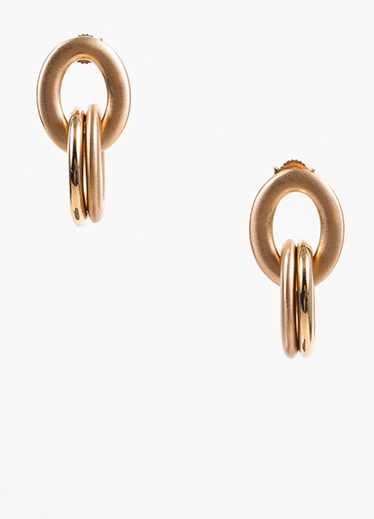 Roberto Coin 18K Rose Gold Matte Glossy Contrast Link Loop Drop Earrings Frontview