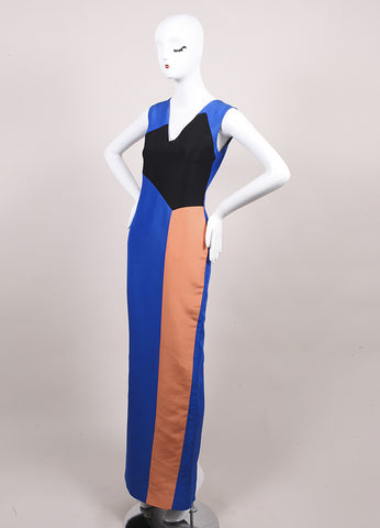 "Roksanda Ilincic New Multicolor Color Long Column ""Borda"" Dress Sideview"