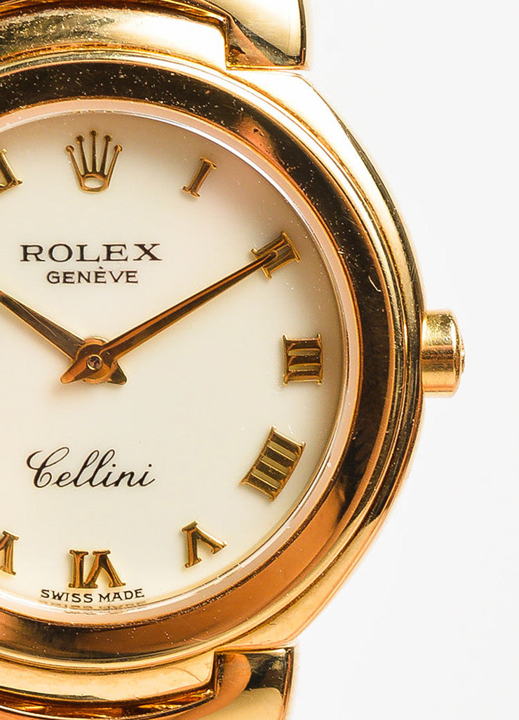 "Rolex 18K Yellow Gold ""Cellini"" Woven Bracelet Quartz Watch Detail"
