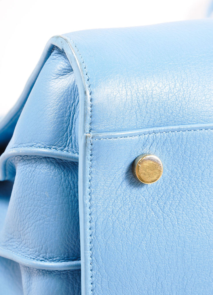 "Saint Laurent Light Blue Leather ""Small Sac du Jour"" Satchel Handbag Detail"