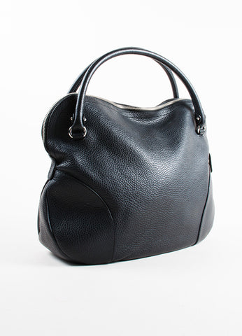 Salvatore Ferragamo Black Pebbled Leather Zip Shoulder Bag Sideview