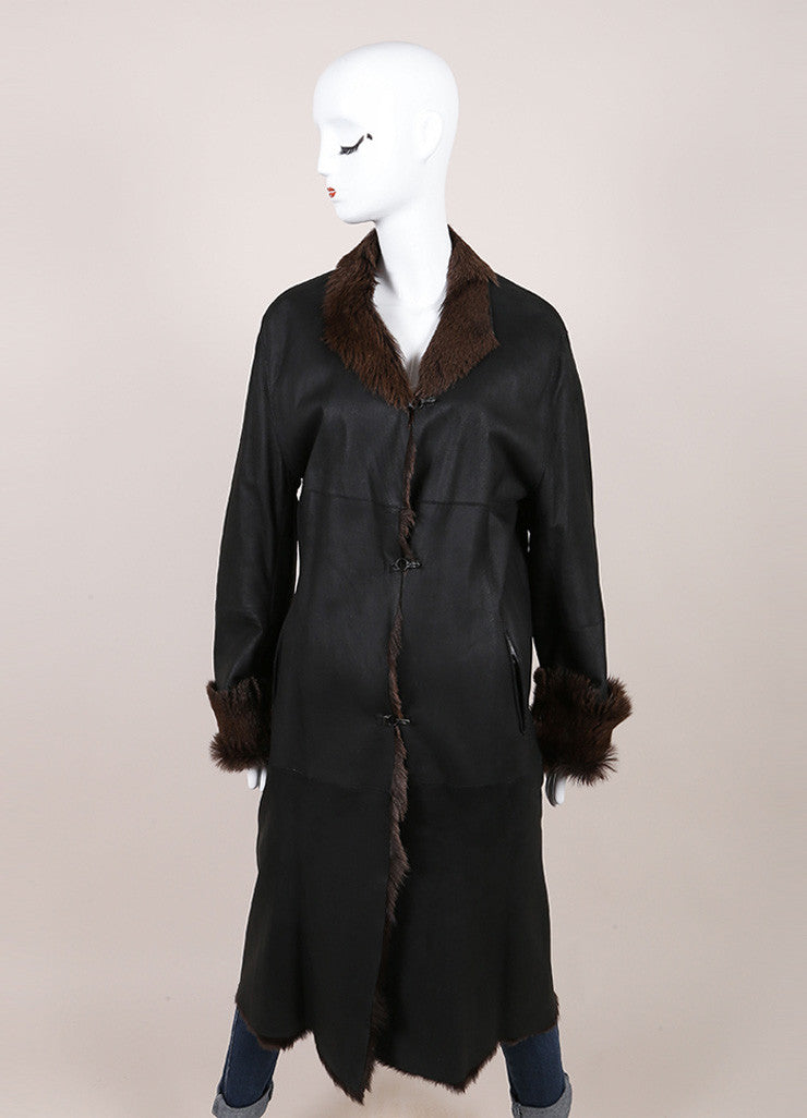 Sylvie Schimmel Black and Brown Shearling, Leather, and Fur Long Sleeve Coat Frontview