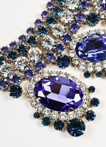 Thorin & Co. Purple, Navy, and Clear Rhinestone Gem Embellished Necklace Detail