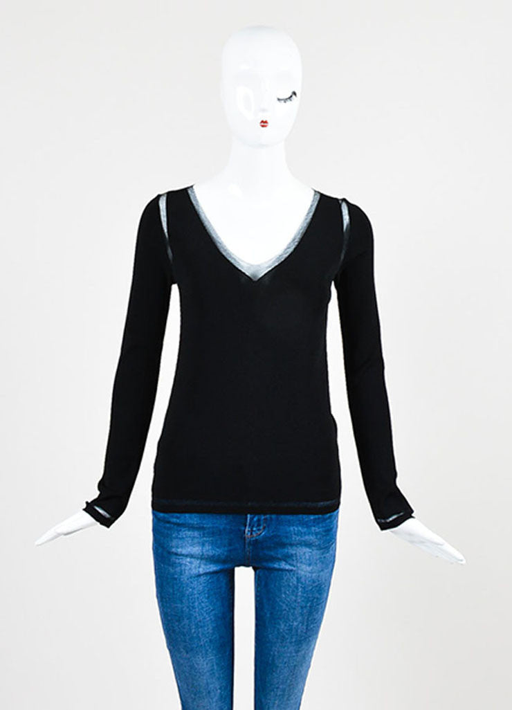 Tom Ford Black Mesh V-Neck See-Through Trim Sweater Frontview