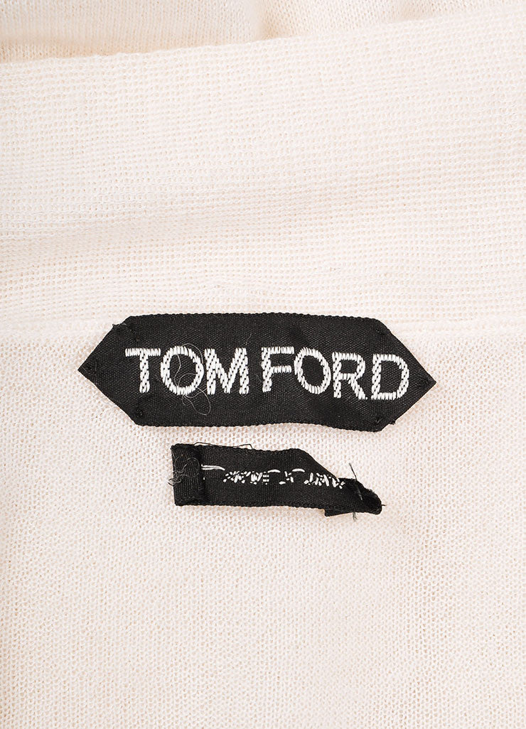 Tom Ford Cream Sheer Cashmere Neck Tie Sweater Brand