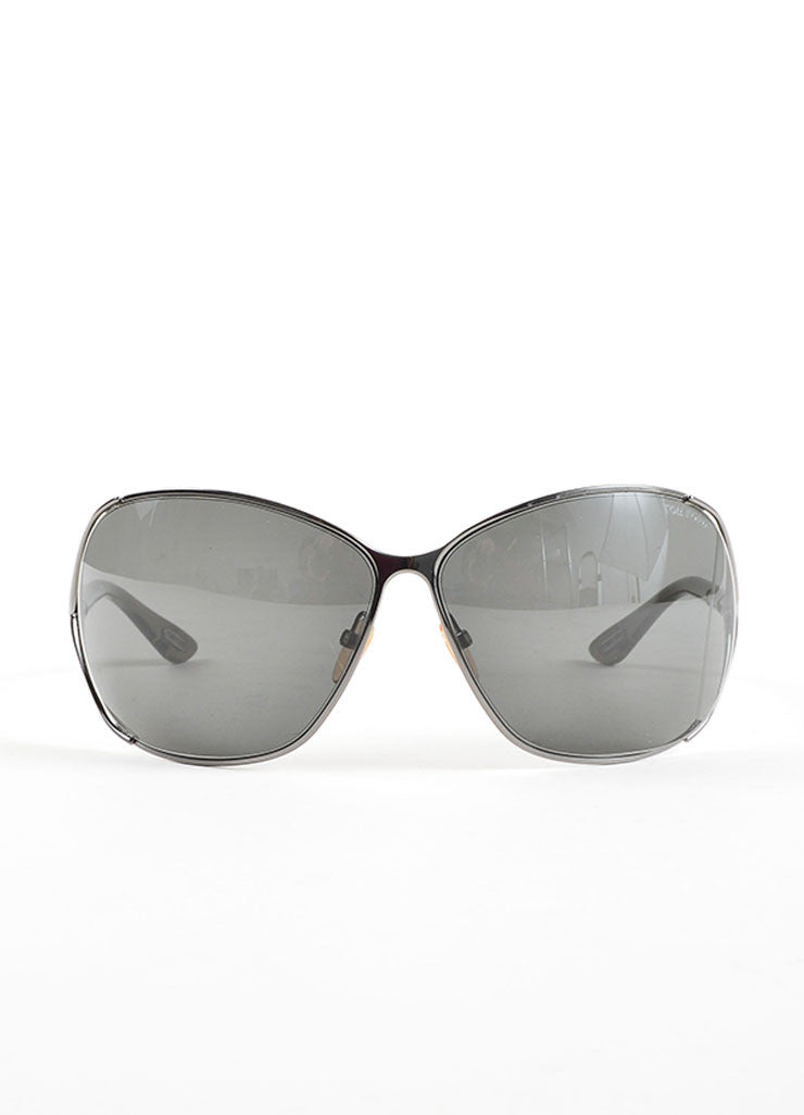 "Tom Ford Grey Plastic and Metal ""Anjelica"" Oversized Sunglasses Frontview"