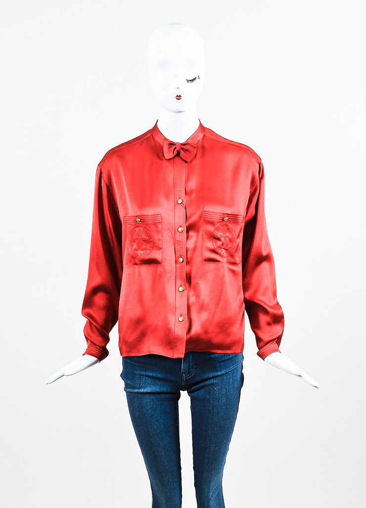 Chanel Red and Gold Toned 'CC' Button Collar Bow Long Sleeve Blouse Frontview