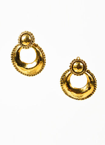 Gold Toned Hammered Chanel Convertible Hoop Clip On Earrings Frontview