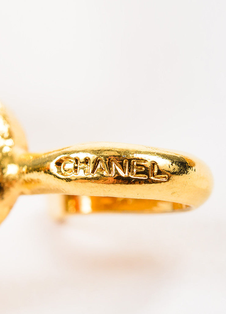 Chanel Gold Toned Metal Chain Link Oval Filigree Belt Brand