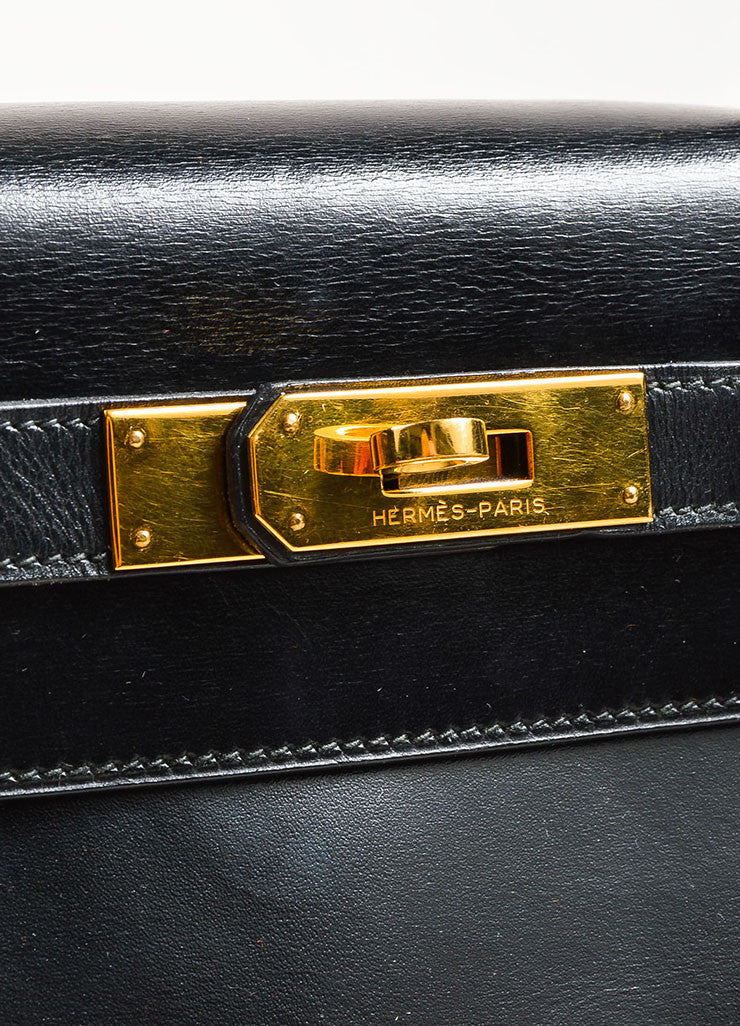 "Hermes Black Box Calf Leather ""Kelly"" Flap Handbag Detail 3"