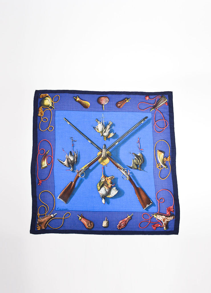 Hermes Blue Cashmere and Silk Rifle Pheasant Print 90cm Scarf Frontview
