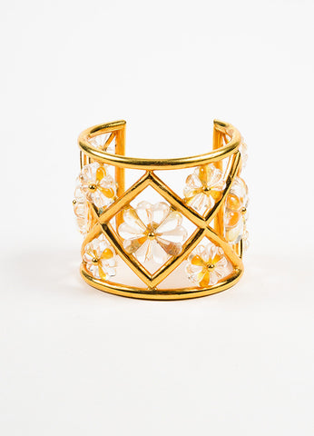 Lanvin Gold Toned and Clear Floral Embellished Cut Out Wide Cuff Bracelet Frontview