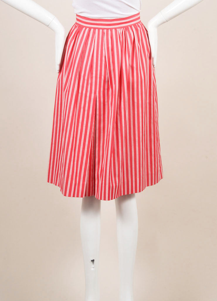 Saint Laurent Red and White Tweed Knit Pinstripe Pleated Skirt Backview